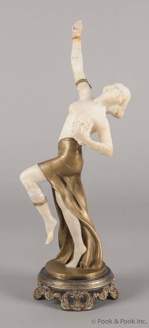 Bronze and marble figure of a woman