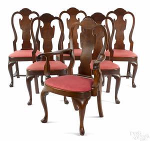 Frank Auspitz York Pennsylvania set of six Queen Anne style walnut dining chairs