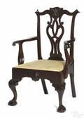 Frank Auspitz York Pennsylvania Chippendale style walnut armchair