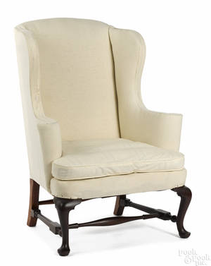 Frank Auspitz York Pennsylvania Queen Anne style maple easy chair
