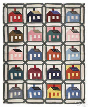Schoolhouse friendship quilt early 20th c