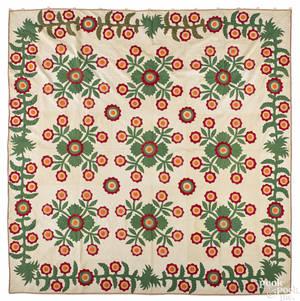 Appliqu whig rose quilt 19th c
