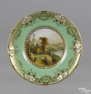 Davenport porcelain cabinet plate of American interest