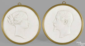 Pair of Sevres bisque porcelain relief silhouettes 19th c