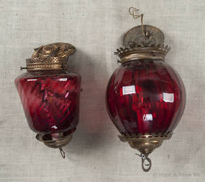 Two Victorian cranberry glass hanging lamps