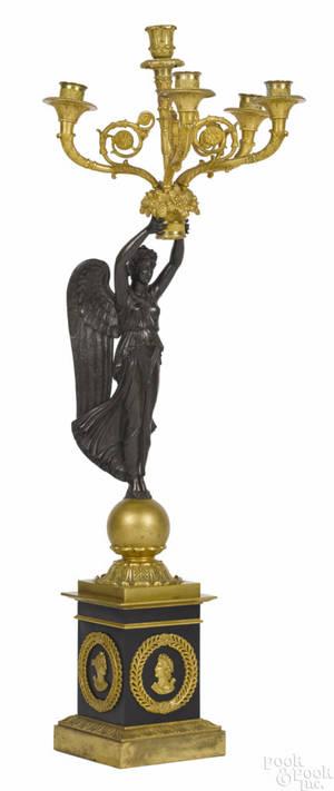 French bronze figural candelabra ca 1900