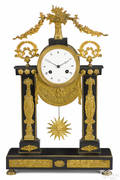 French black marble and ormolu portico clock 19th c