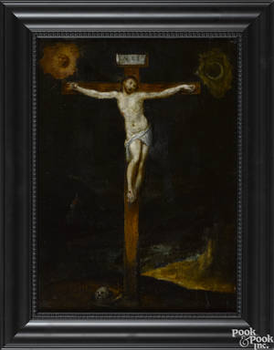 Continental oil on board of the crucifixion late 18th c