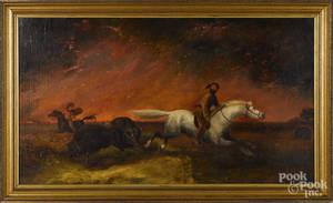 Oil on canvas western landscape with an Indian and a frontiersman