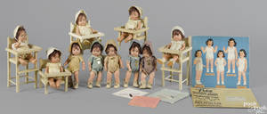 Two sets of five Madame Alexander composition Dionne Quintuplets dolls