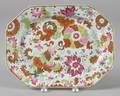 Chinese export porcelain pseudo tobacco leaf platter 19th c