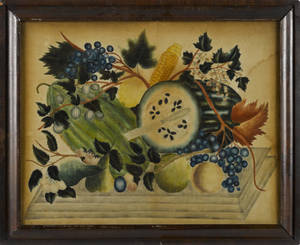 American oil on velvet theorem of fruit 19th c