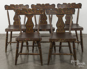 Set of five Pennsylvania painted plank seat chairs 19th c