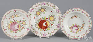 Two Queens Rose pearlware soup bowls