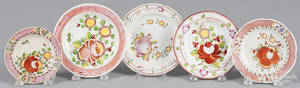 Five Queens Rose pearlware toddy plates