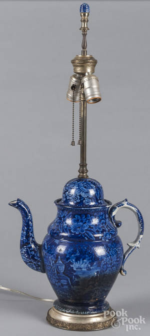 Historical blue Staffordshire coffee pot table lamp depicting Franklins tomb