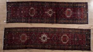 Two semi antique Heriz runners