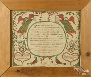 Southeastern Pennsylvania printed and hand colored fraktur birth certificate