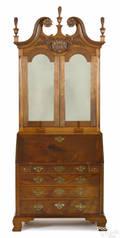 Frank Auspitz York Pennsylvania Chippendale style walnut secretary desk and bookcase