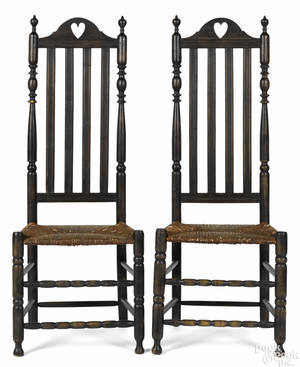Pair of New Jersey or New York William  Mary banisterback chairs mid 18th c
