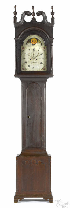 Berks County Pennsylvania Chippendale walnut tall case clock ca 1805