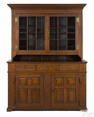 Pennsylvania walnut twopart Dutch cupboard ca 1790