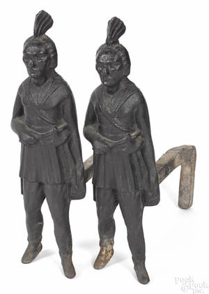 Pair of cast iron Indian andirons 19th c