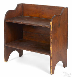Stained pine bucket bench 19th c