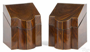 Pair of George III mahogany knife boxes late 18th c