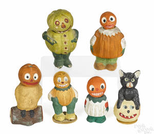 Six German composition Halloween candy containers