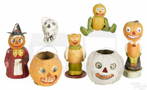 Seven composition Halloween candy containers
