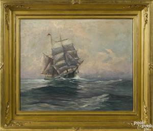Oil on canvas ship portrait 19th c