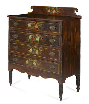 New England Sheraton painted pine chest of drawers ca 1820