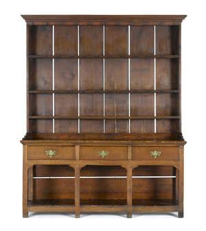Oak Welsh pewter cupboard 18th c