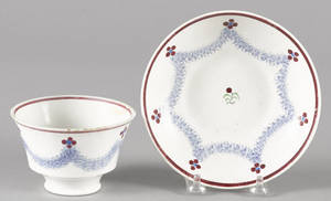 Blue spatter drape pattern cup and saucer 19th c