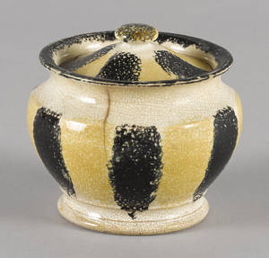 Yellow and black rainbow spatter covered sugar 19th c