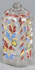 Stiegel type enamel glass flask