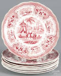 Eight red Staffordshire Palestine plates