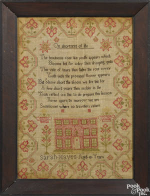 Silk on linen needlework sampler early 19th c