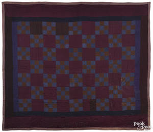 Mifflin County Nebraska Amish ninepatch wool quilt early 20th c