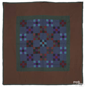 Lancaster County Pennsylvania Amish ninepatch quilt early 20th c