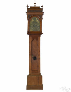 Important Benjamin Chandlee Chester County Pennsylvania Queen Anne walnut tall case clock ca 1745