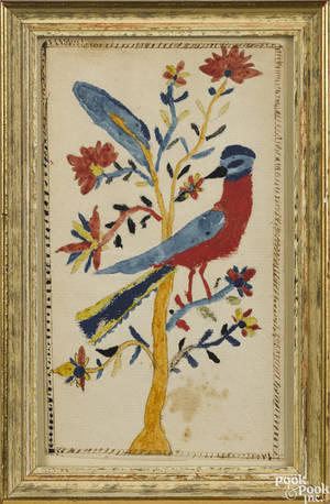 Montgomery County Pennsylvania Schwenkfelder ink and watercolor fraktur bookplate earlymid 19th c