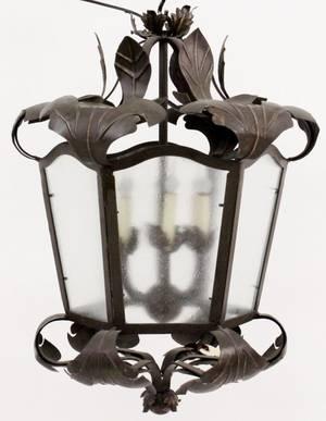 Iron Leaf Motif Hanging Lantern