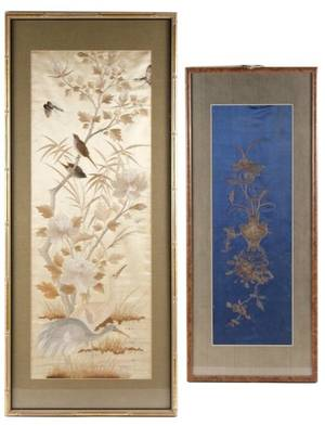 Group of Two Chinese Embroidered Silk Panels