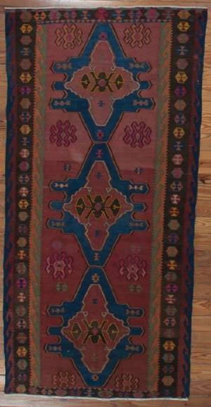 Antique Russian Kilim 63 x 11 Rug