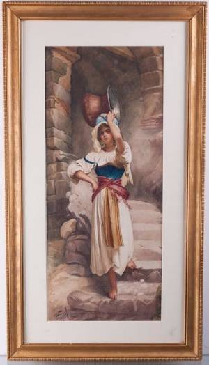 D Coppola Woman with Copper Pot Watercolor