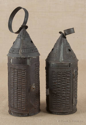 Two Pennsylvania punched tin carry lanterns