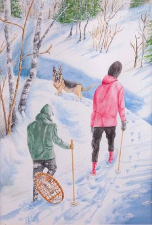 Emilie Fishman Who Is Breaking Trail Watercolor
