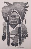Mike Romero Eagle Robe Graphite Drawing on Paper